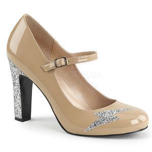 """Shoes - 4"""" High Heel Glitter Lightning Bolt Shoes Tan"""